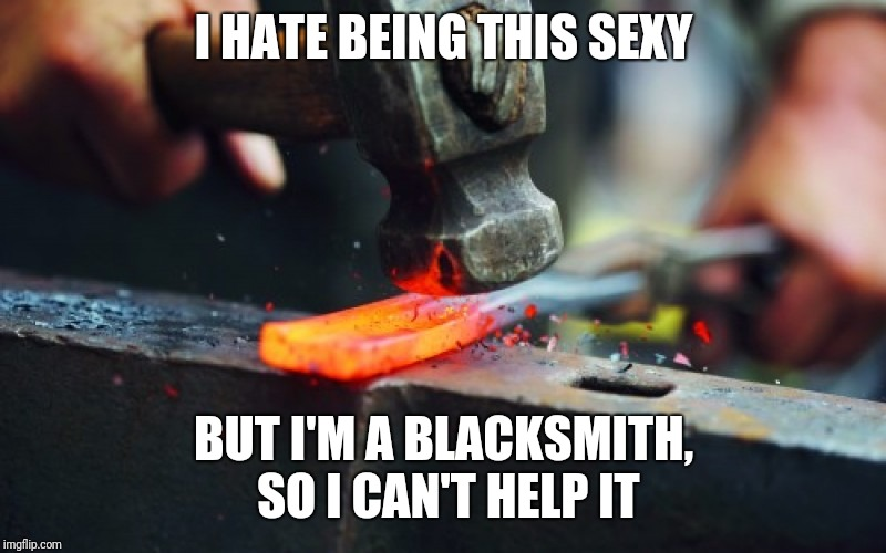 I HATE BEING THIS SEXY BUT I'M A BLACKSMITH, SO I CAN'T HELP IT | image tagged in metal | made w/ Imgflip meme maker