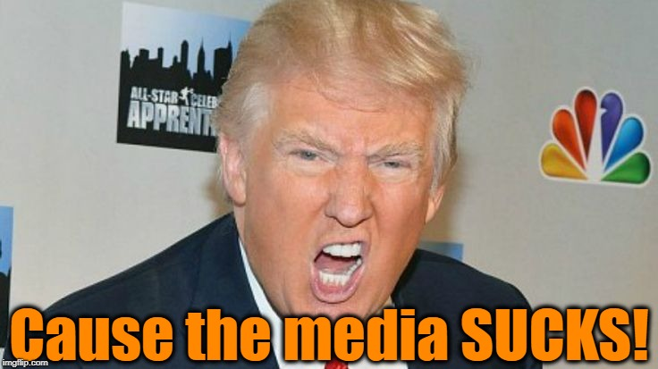 trump mad | Cause the media SUCKS! | image tagged in trump mad | made w/ Imgflip meme maker