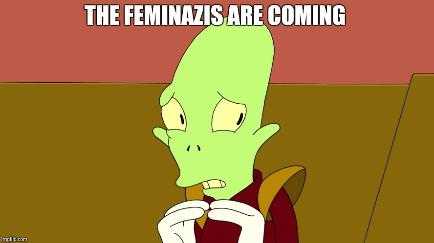 THE FEMINAZIS ARE COMING | image tagged in futurama | made w/ Imgflip meme maker