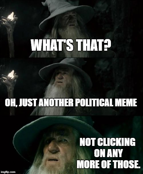 Confused Gandalf Meme | WHAT'S THAT? OH, JUST ANOTHER POLITICAL MEME NOT CLICKING ON ANY MORE OF THOSE. | image tagged in memes,confused gandalf | made w/ Imgflip meme maker