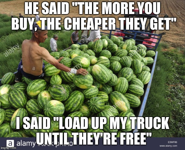 "HE SAID ""THE MORE YOU BUY, THE CHEAPER THEY GET"" I SAID ""LOAD UP MY TRUCK UNTIL THEY'RE FREE"" 