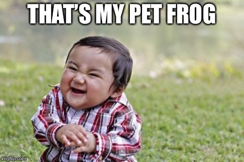 Evil Toddler Meme | THAT'S MY PET FROG | image tagged in memes,evil toddler | made w/ Imgflip meme maker