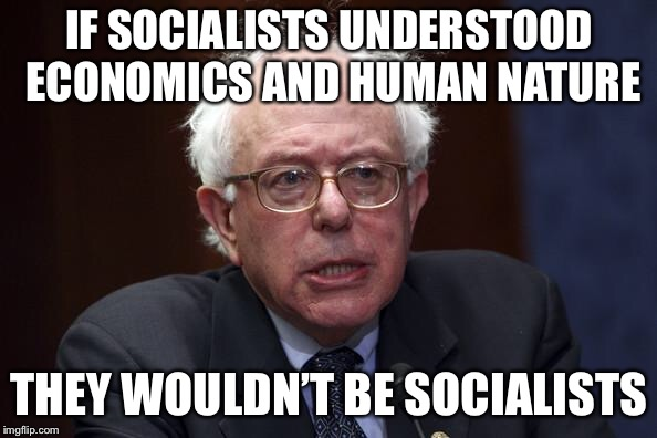 Bernie Sanders | IF SOCIALISTS UNDERSTOOD ECONOMICS AND HUMAN NATURE THEY WOULDN'T BE SOCIALISTS | image tagged in bernie sanders | made w/ Imgflip meme maker