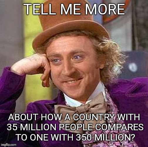 Creepy Condescending Wonka Meme | TELL ME MORE ABOUT HOW A COUNTRY WITH 35 MILLION PEOPLE COMPARES TO ONE WITH 350 MILLION? | image tagged in memes,creepy condescending wonka | made w/ Imgflip meme maker