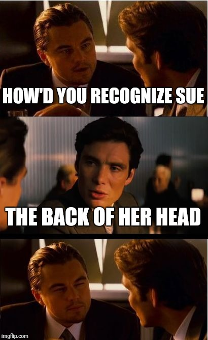 Inception Meme | HOW'D YOU RECOGNIZE SUE THE BACK OF HER HEAD | image tagged in memes,inception | made w/ Imgflip meme maker