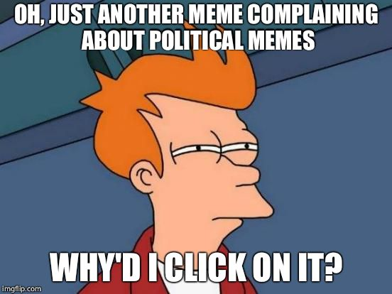 Futurama Fry Meme | OH, JUST ANOTHER MEME COMPLAINING ABOUT POLITICAL MEMES WHY'D I CLICK ON IT? | image tagged in memes,futurama fry | made w/ Imgflip meme maker
