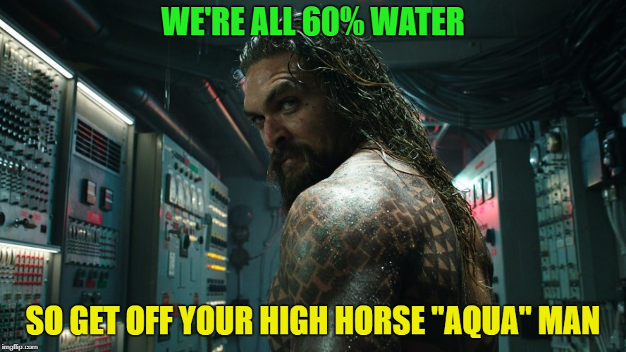 "science yeah! | WE'RE ALL 60% WATER SO GET OFF YOUR HIGH HORSE ""AQUA"" MAN 