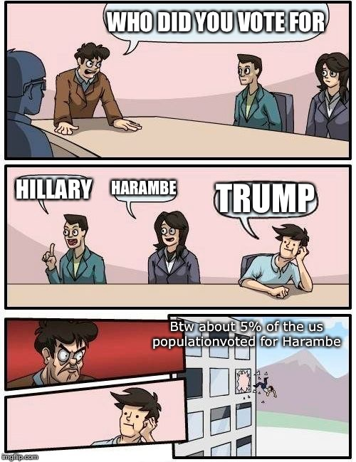 Boardroom Meeting Suggestion Meme | WHO DID YOU VOTE FOR HILLARY HARAMBE TRUMP Btw about 5% of the us populationvoted for Harambe | image tagged in memes,boardroom meeting suggestion | made w/ Imgflip meme maker