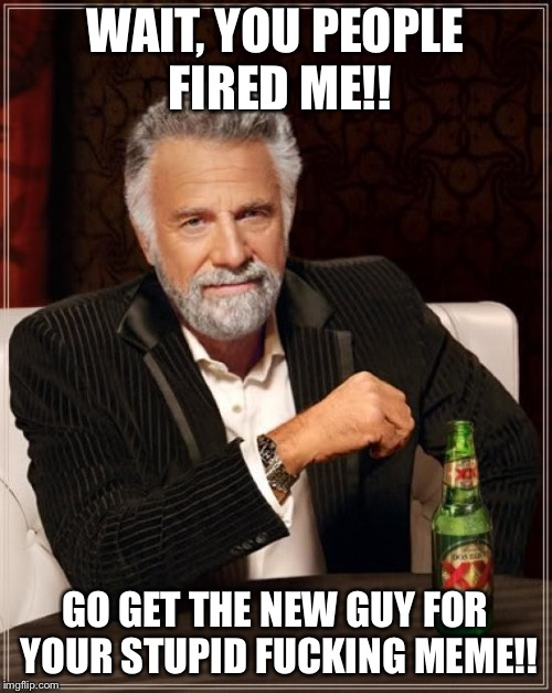 The Most Interesting Man In The World Meme | WAIT, YOU PEOPLE FIRED ME!! GO GET THE NEW GUY FOR YOUR STUPID F**KING MEME!! | image tagged in memes,the most interesting man in the world,beer,dos equis | made w/ Imgflip meme maker
