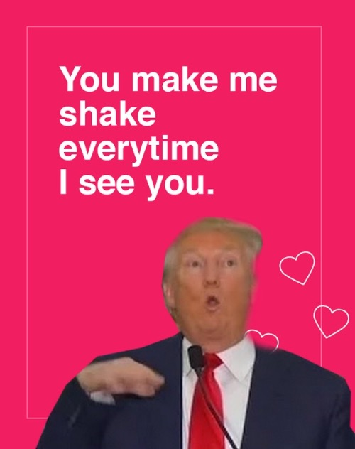 From Donald Trump.  To Donald Trump. | You make me shake everytime I see you. | image tagged in memes,donald trump | made w/ Imgflip meme maker