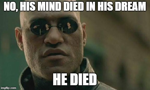 Matrix Morpheus Meme | NO, HIS MIND DIED IN HIS DREAM HE DIED | image tagged in memes,matrix morpheus | made w/ Imgflip meme maker