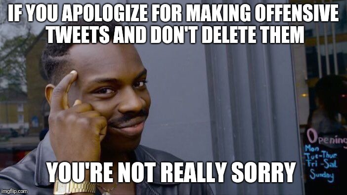 Roll Safe Think About It Meme | IF YOU APOLOGIZE FOR MAKING OFFENSIVE TWEETS AND DON'T DELETE THEM YOU'RE NOT REALLY SORRY | image tagged in memes,roll safe think about it | made w/ Imgflip meme maker