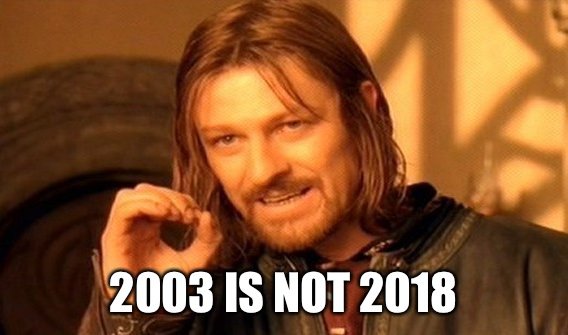 One Does Not Simply Meme | 2003 IS NOT 2018 | image tagged in memes,one does not simply | made w/ Imgflip meme maker