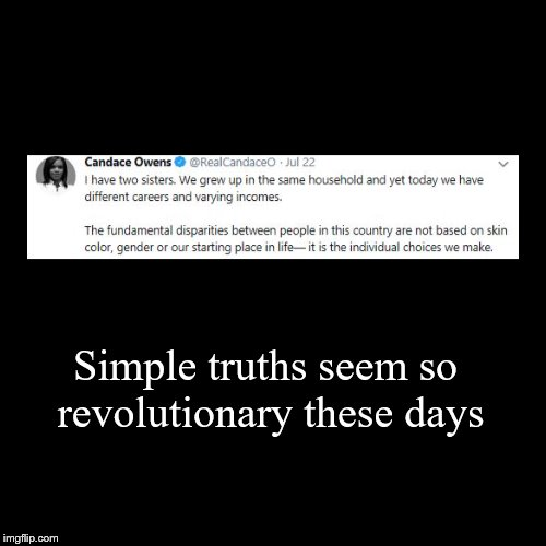 Individual choices | Simple truths seem so revolutionary these days | | image tagged in candace owens,truth,disparities,racism,sexism,choices | made w/ Imgflip demotivational maker