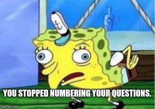 Mocking Spongebob Meme | YOU STOPPED NUMBERING YOUR QUESTIONS. | image tagged in memes,mocking spongebob | made w/ Imgflip meme maker