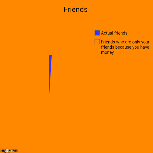 Friends | Friends who are only your friends because you have money, Actual friends | image tagged in funny,pie charts | made w/ Imgflip pie chart maker