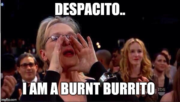 DESPACITO.. I AM A BURNT BURRITO | image tagged in meryl streep oscar | made w/ Imgflip meme maker