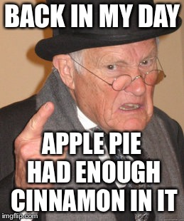 Back In My Day Meme | BACK IN MY DAY APPLE PIE HAD ENOUGH CINNAMON IN IT | image tagged in memes,back in my day | made w/ Imgflip meme maker