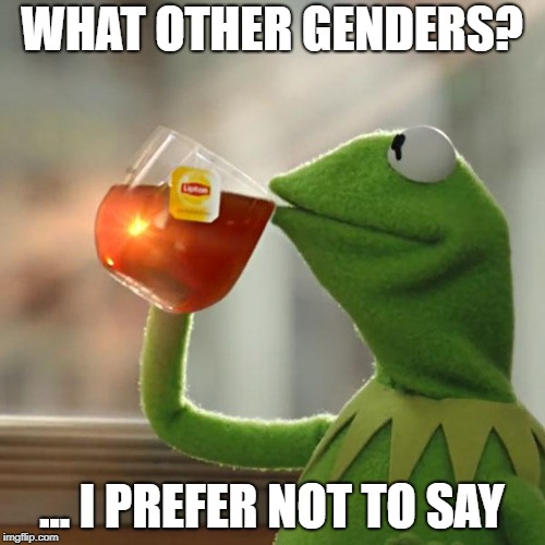 But Thats None Of My Business Meme | WHAT OTHER GENDERS? ... I PREFER NOT TO SAY | image tagged in memes,but thats none of my business,kermit the frog | made w/ Imgflip meme maker