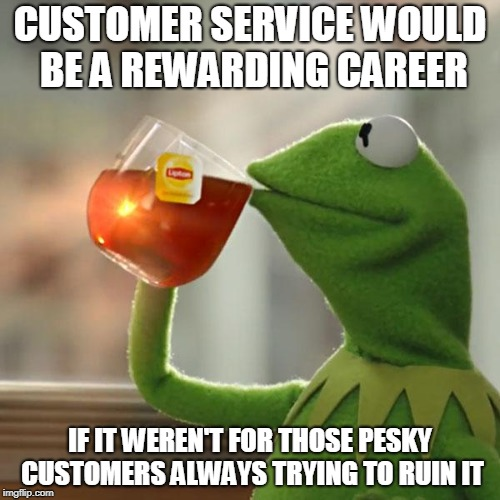 Truth! | CUSTOMER SERVICE WOULD BE A REWARDING CAREER IF IT WEREN'T FOR THOSE PESKY CUSTOMERS ALWAYS TRYING TO RUIN IT | image tagged in memes,but thats none of my business,kermit the frog,customers,customer service,annoying customers | made w/ Imgflip meme maker