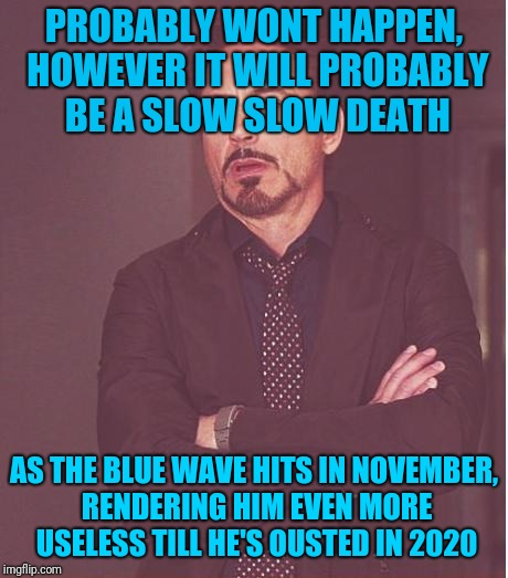 Face You Make Robert Downey Jr Meme | PROBABLY WONT HAPPEN, HOWEVER IT WILL PROBABLY BE A SLOW SLOW DEATH AS THE BLUE WAVE HITS IN NOVEMBER, RENDERING HIM EVEN MORE USELESS TILL  | image tagged in memes,face you make robert downey jr | made w/ Imgflip meme maker