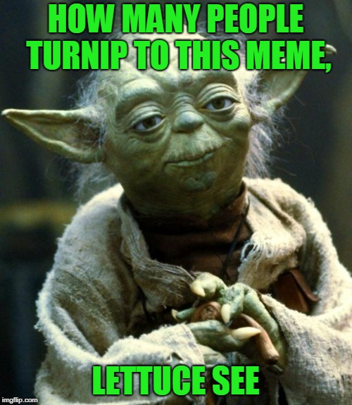 Star Wars Yoda Meme | HOW MANY PEOPLE TURNIP TO THIS MEME, LETTUCE SEE | image tagged in memes,star wars yoda | made w/ Imgflip meme maker