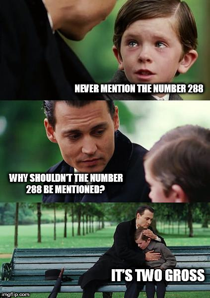 Finding Neverland Meme | NEVER MENTION THE NUMBER 288 WHY SHOULDN'T THE NUMBER 288 BE MENTIONED? IT'S TWO GROSS | image tagged in memes,finding neverland | made w/ Imgflip meme maker