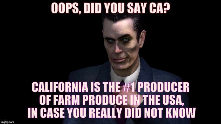 Half-Life's G-Man, from the Creepy Gallery of VagabondSoufflé  | OOPS, DID YOU SAY CA? CALIFORNIA IS THE #1 PRODUCER OF FARM PRODUCE IN THE USA, IN CASE YOU REALLY DID NOT KNOW | image tagged in half-life's g-man,from the creepy gallery of vagabondsouffl | made w/ Imgflip meme maker