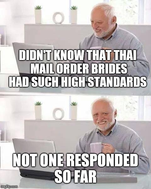 Hide the Pain Harold Meme | DIDN'T KNOW THAT THAI MAIL ORDER BRIDES HAD SUCH HIGH STANDARDS NOT ONE RESPONDED SO FAR | image tagged in memes,hide the pain harold | made w/ Imgflip meme maker