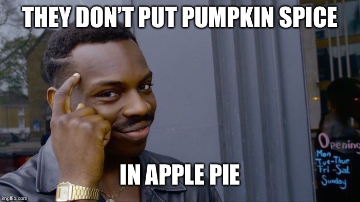 Roll Safe Think About It Meme | THEY DON'T PUT PUMPKIN SPICE IN APPLE PIE | image tagged in memes,roll safe think about it | made w/ Imgflip meme maker