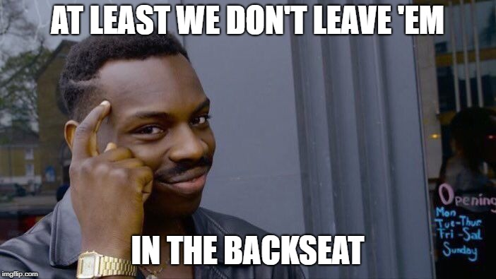 Roll Safe Think About It Meme | AT LEAST WE DON'T LEAVE 'EM IN THE BACKSEAT | image tagged in memes,roll safe think about it | made w/ Imgflip meme maker