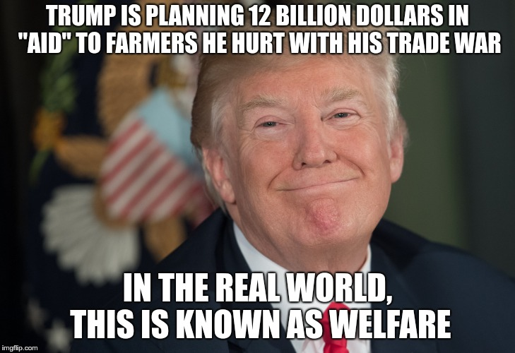 "Welfare | TRUMP IS PLANNING 12 BILLION DOLLARS IN ""AID"" TO FARMERS HE HURT WITH HIS TRADE WAR IN THE REAL WORLD, THIS IS KNOWN AS WELFARE 