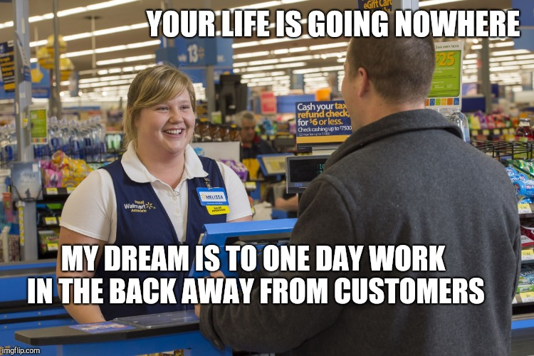 Walmart Checkout Lady | YOUR LIFE IS GOING NOWHERE MY DREAM IS TO ONE DAY WORK IN THE BACK AWAY FROM CUSTOMERS | image tagged in walmart checkout lady | made w/ Imgflip meme maker