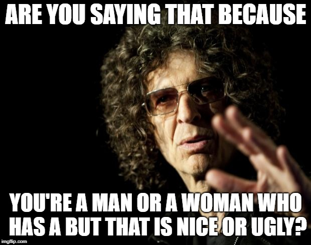 Howard Stern as Malcolm X | ARE YOU SAYING THAT BECAUSE YOU'RE A MAN OR A WOMAN WHO HAS A BUT THAT IS NICE OR UGLY? | image tagged in howard stern as malcolm x | made w/ Imgflip meme maker