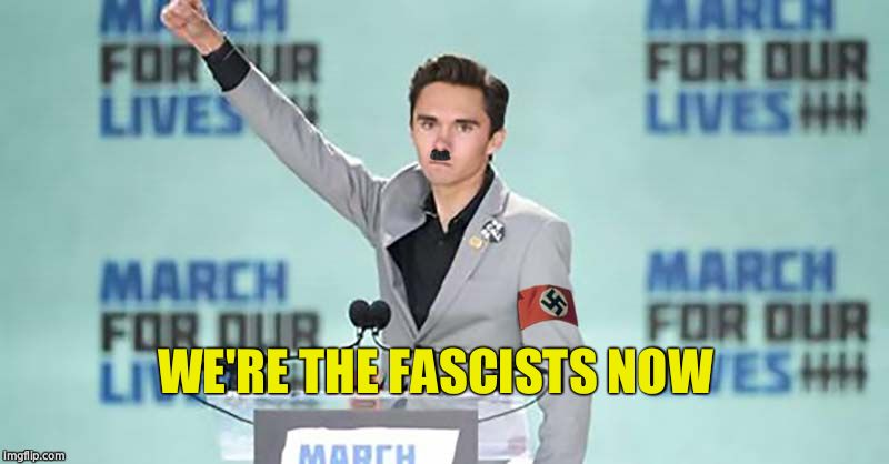 Heil David Hogg | WE'RE THE FASCISTS NOW | image tagged in heil david hogg | made w/ Imgflip meme maker