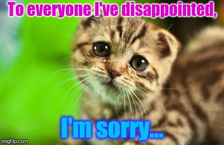 I'm a disappointment | To everyone I've disappointed, I'm sorry... | image tagged in sorry cat,cats,disapointing | made w/ Imgflip meme maker
