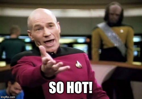 Picard Wtf Meme | SO HOT! | image tagged in memes,picard wtf | made w/ Imgflip meme maker