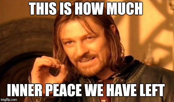 One Does Not Simply Meme | THIS IS HOW MUCH INNER PEACE WE HAVE LEFT | image tagged in memes,one does not simply | made w/ Imgflip meme maker