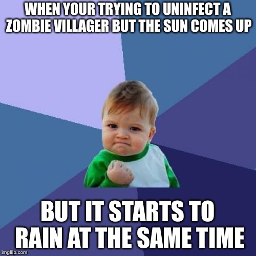 Minecraft meme | WHEN YOUR TRYING TO UNINFECT A ZOMBIE VILLAGER BUT THE SUN COMES UP BUT IT STARTS TO RAIN AT THE SAME TIME | image tagged in memes,minecraft,lucky,blessed | made w/ Imgflip meme maker