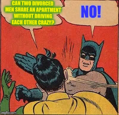 Batman Slapping Robin Meme | CAN TWO DIVORCED MEN SHARE AN APARTMENT WITHOUT DRIVING EACH OTHER CRAZY? NO! | image tagged in memes,batman slapping robin | made w/ Imgflip meme maker