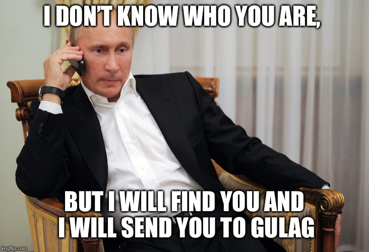 I DON'T KNOW WHO YOU ARE, BUT I WILL FIND YOU AND I WILL SEND YOU TO GULAG | image tagged in putin,russia,taken | made w/ Imgflip meme maker