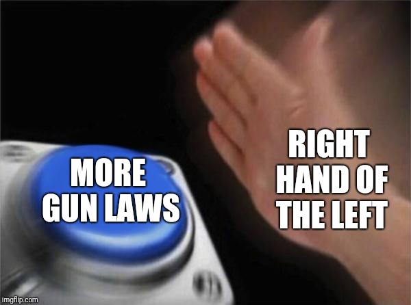 Cure All Solutions | RIGHT HAND OF THE LEFT MORE GUN LAWS | image tagged in memes,blank nut button,leftists,solutions | made w/ Imgflip meme maker