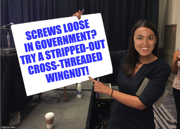 Ocasio with message board | SCREWS LOOSE IN GOVERNMENT? TRY A STRIPPED-OUT CROSS-THREADED WINGNUT! | image tagged in ocasio with message board | made w/ Imgflip meme maker