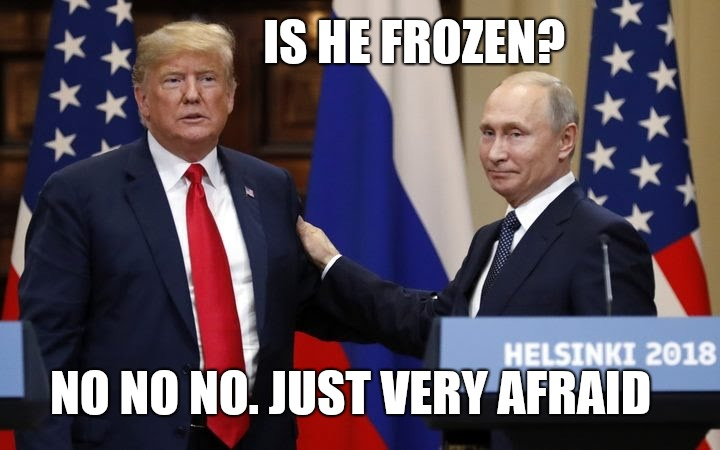 Trump the chicken |  IS HE FROZEN? NO NO NO. JUST VERY AFRAID | image tagged in trump meme,trump russia,trump impeachment,trump putin,memes,funny memes | made w/ Imgflip meme maker