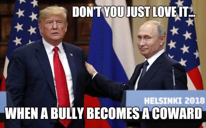 Trump not really a bully |  DON'T YOU JUST LOVE IT... WHEN A BULLY BECOMES A COWARD | image tagged in trump meme,trump russia collusion,trump putin,trump russia,memes,impeach trump | made w/ Imgflip meme maker