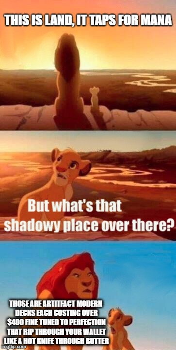 life in mtg | THIS IS LAND, IT TAPS FOR MANA THOSE ARE ARTITFACT MODERN DECKS EACH COSTING OVER $400 FINE TUNED TO PERFECTION THAT RIP THROUGH YOUR WALLET | image tagged in memes,simba shadowy place,mtg | made w/ Imgflip meme maker