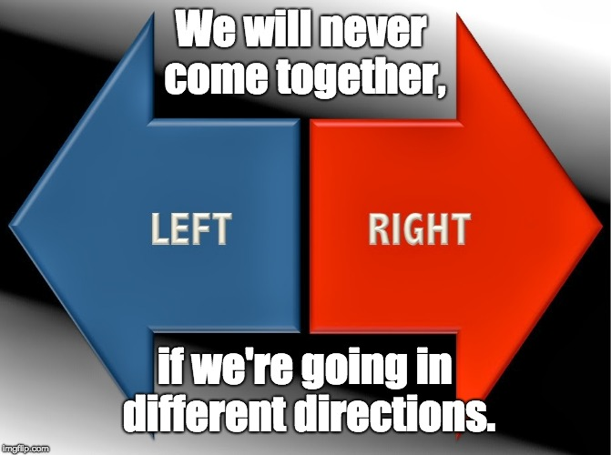 United we Stand, Divided we Fall. | We will never come together, if we're going in different directions. | image tagged in liberal,conservative,right,wrong,left,good | made w/ Imgflip meme maker