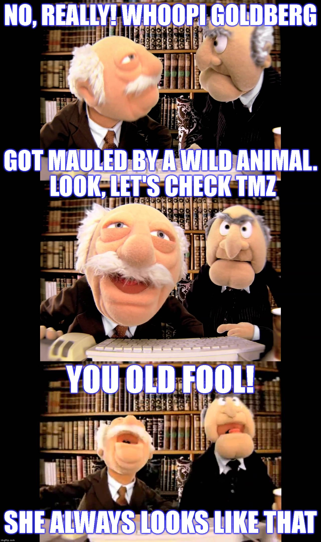 To The Bone! | NO, REALLY! WHOOPI GOLDBERG SHE ALWAYS LOOKS LIKE THAT GOT MAULED BY A WILD ANIMAL. LOOK, LET'S CHECK TMZ YOU OLD FOOL! | image tagged in waldorf and statler,muppets,whoopi goldberg,ugly,animal attack,funny | made w/ Imgflip meme maker