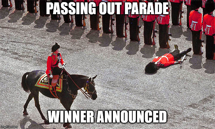 A tribute to the fallen soldier? | PASSING OUT PARADE WINNER ANNOUNCED | image tagged in memes,soldiers | made w/ Imgflip meme maker