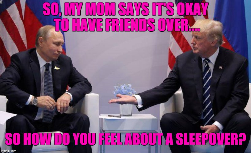 SO, MY MOM SAYS IT'S OKAY TO HAVE FRIENDS OVER.... SO HOW DO YOU FEEL ABOUT A SLEEPOVER? | image tagged in trump putin | made w/ Imgflip meme maker